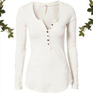 Free People White Crochet Cuff Henley Shirt Top, L